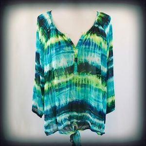 Rose & Olive Blue Sheer Knot Front Top 1X EUC
